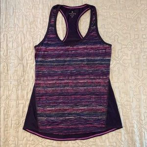 Athleta racer back Chi tank with purple and blue